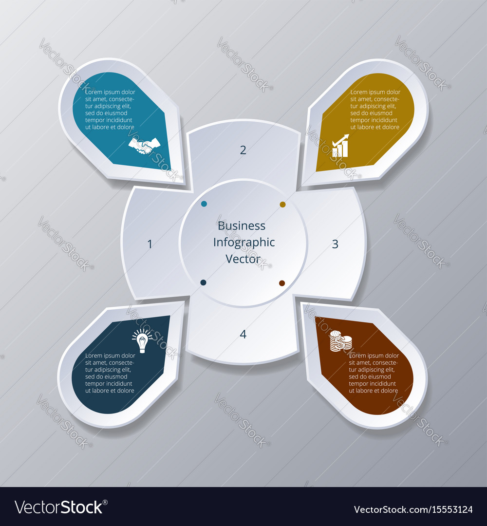 Infographic four points arranged in circle gear