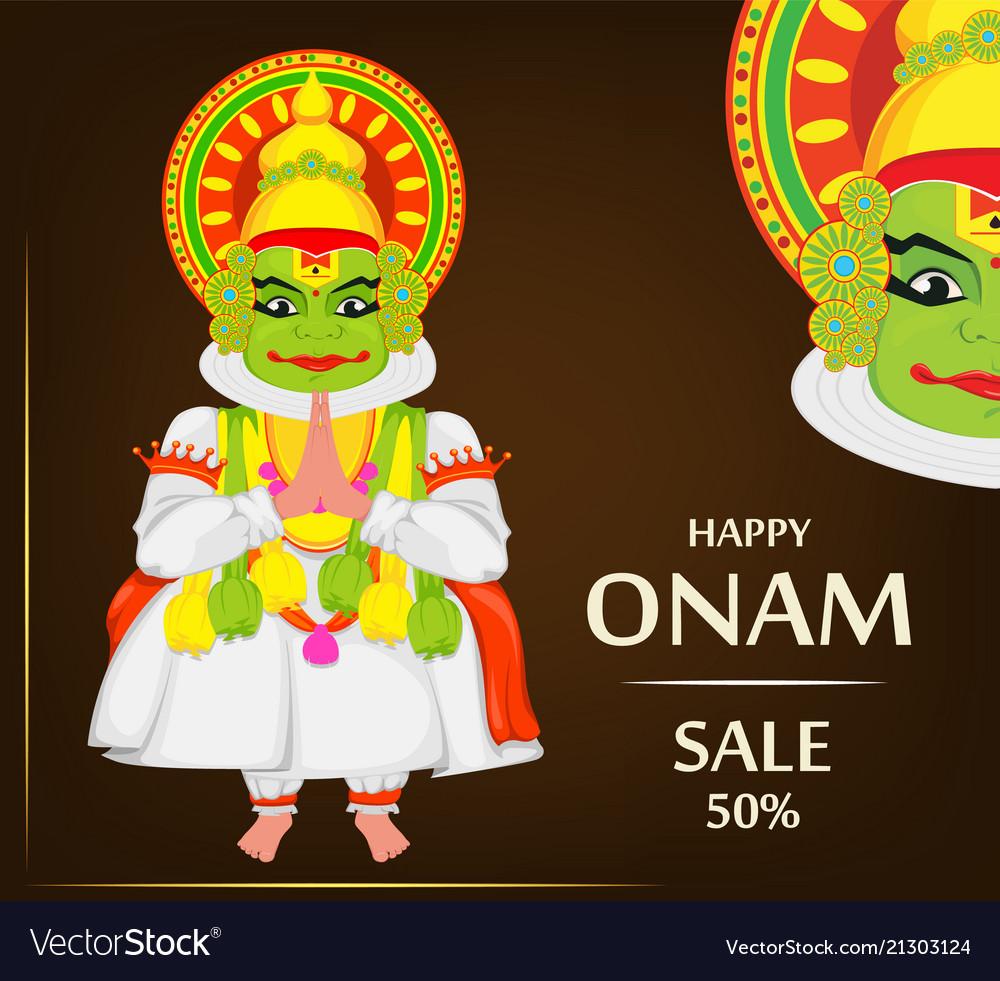 Kathakali dancer happy onam festival