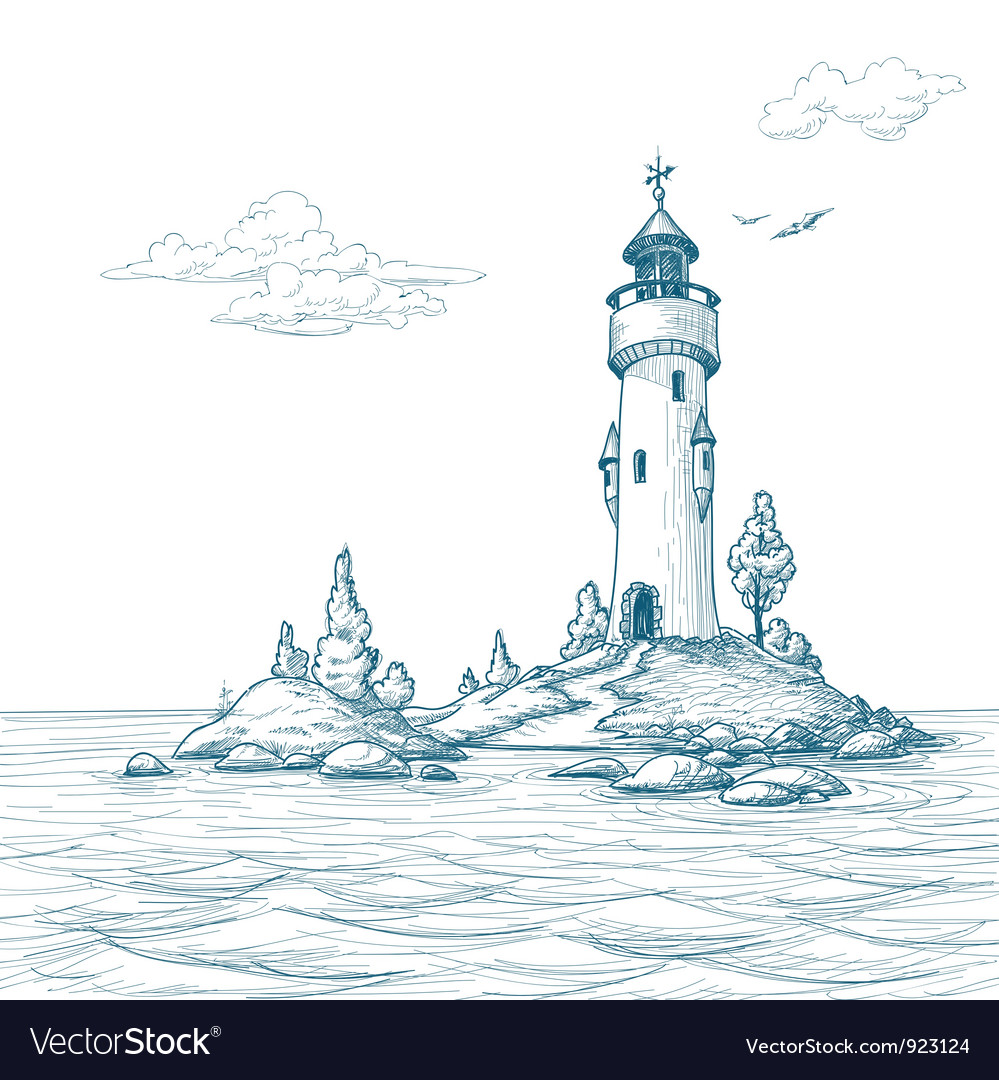 Lighthouse island in the sea sketch vector image