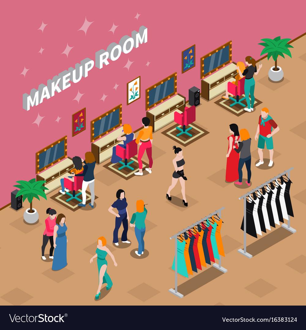 Makeup room fashion isometric vector image
