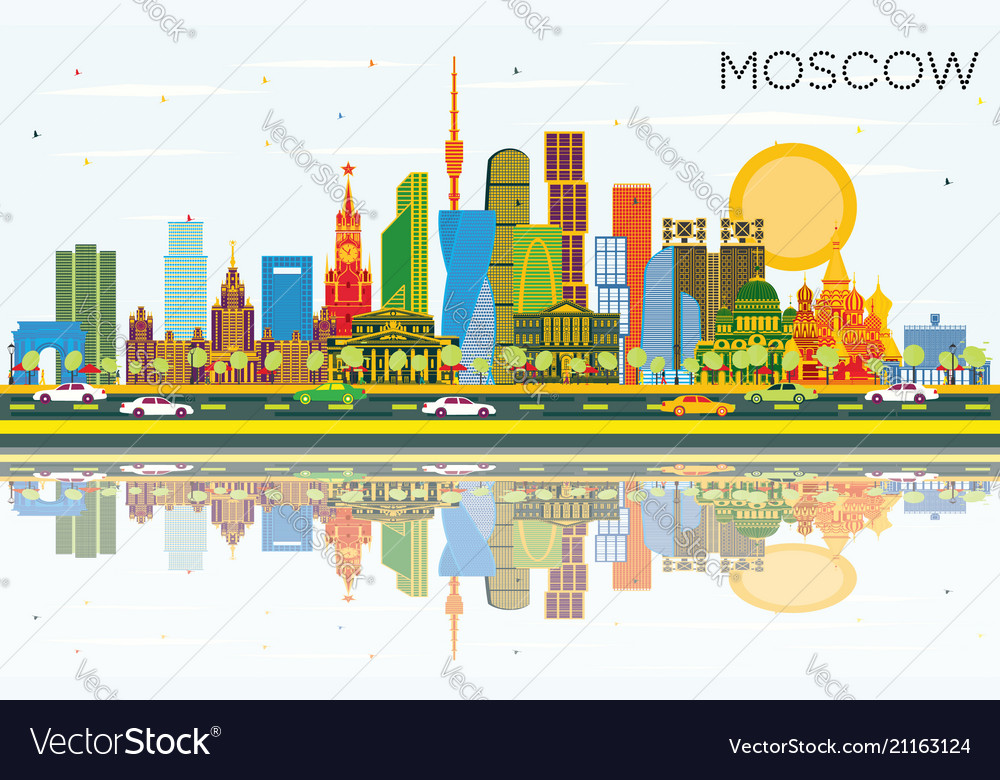 Outline moscow russia city skyline with color buildings ... |Moscow City Coloring