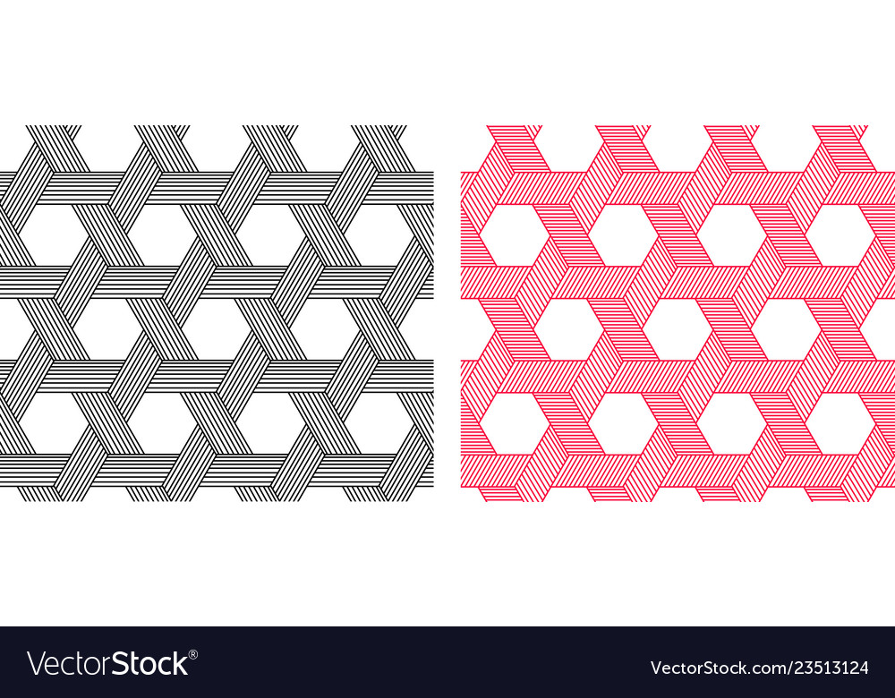 Seamless weave hexagon pattern in linear style art