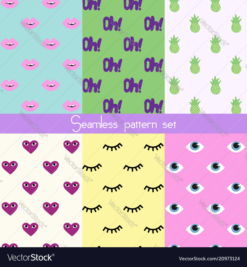 Set of seamless stickers pattern