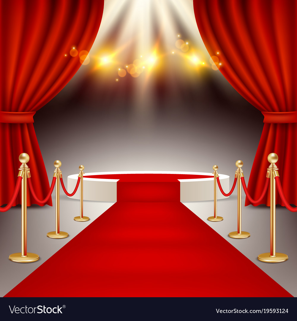 Winners podium with red carpet realistic