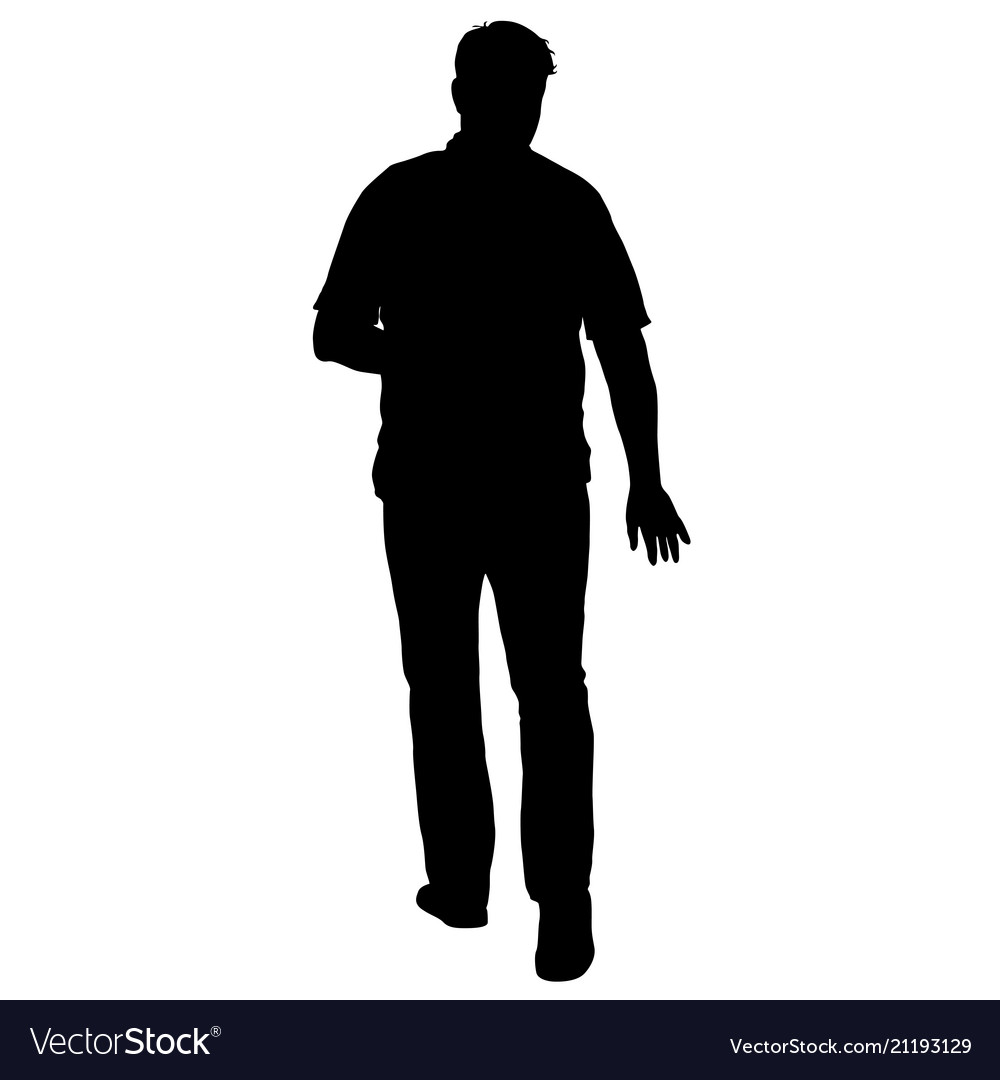 Black silhouette man standing people on white
