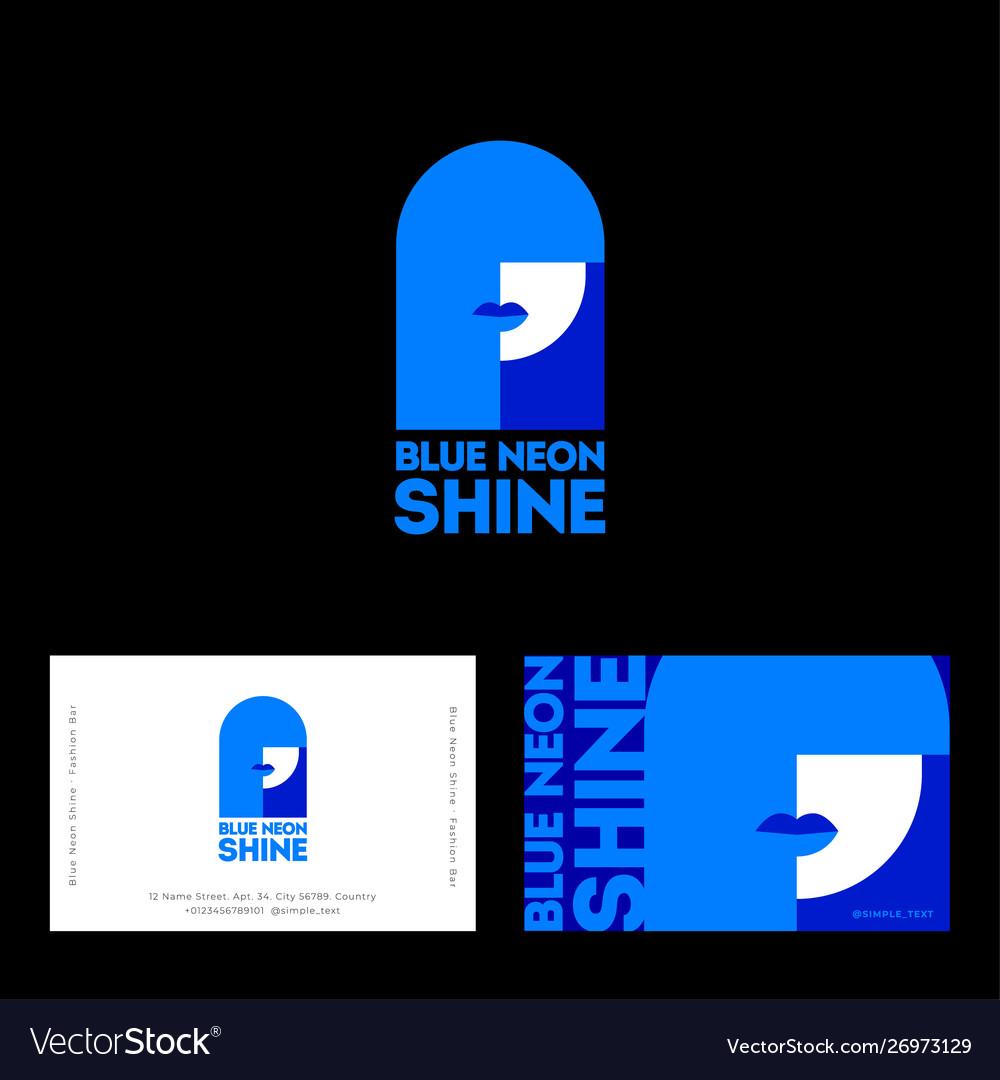 Blue neon shine logo business card poster