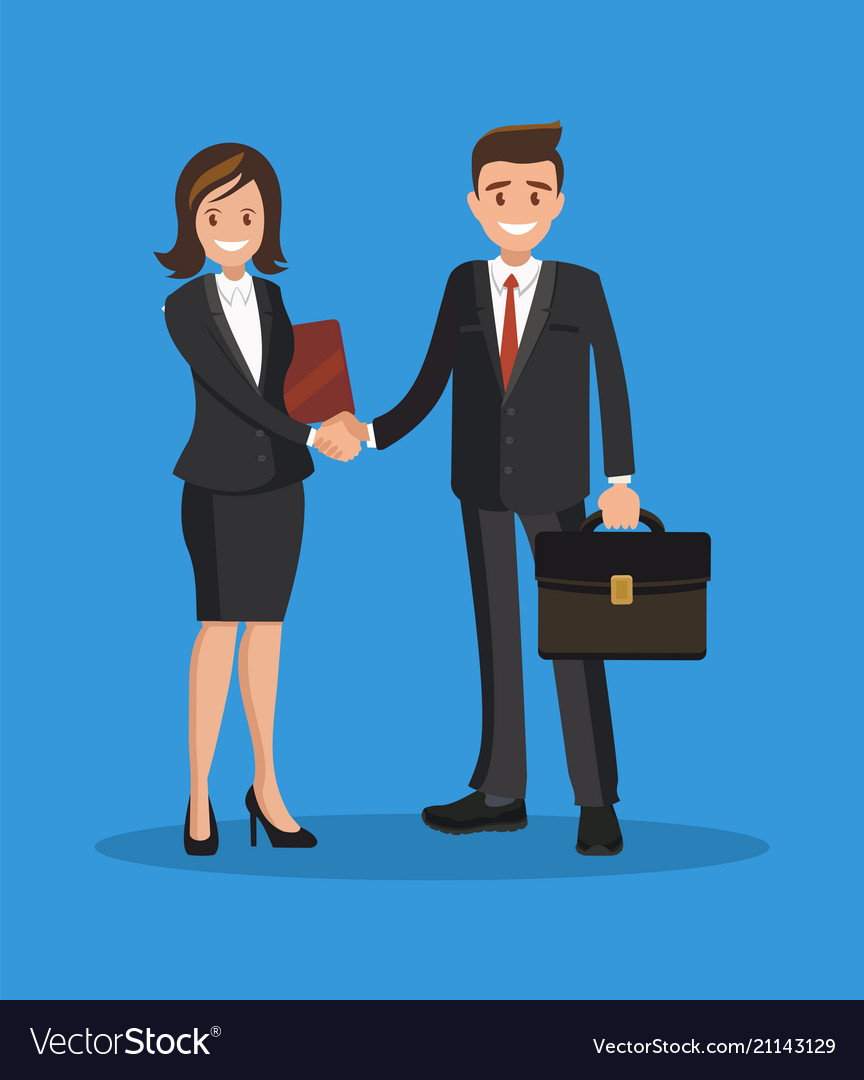 Business man and woman shake hands a successful