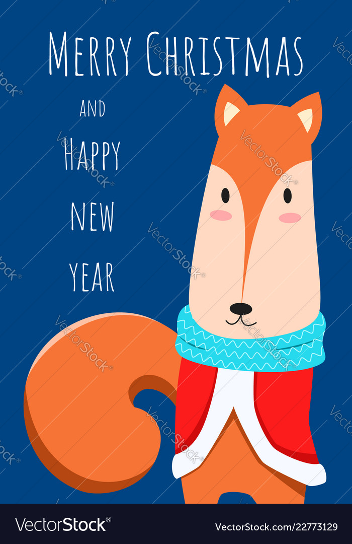 Christmas greeting card and cute fox character
