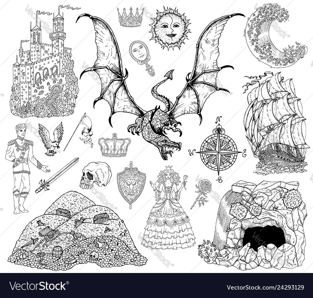 Design set with dragon princess cave