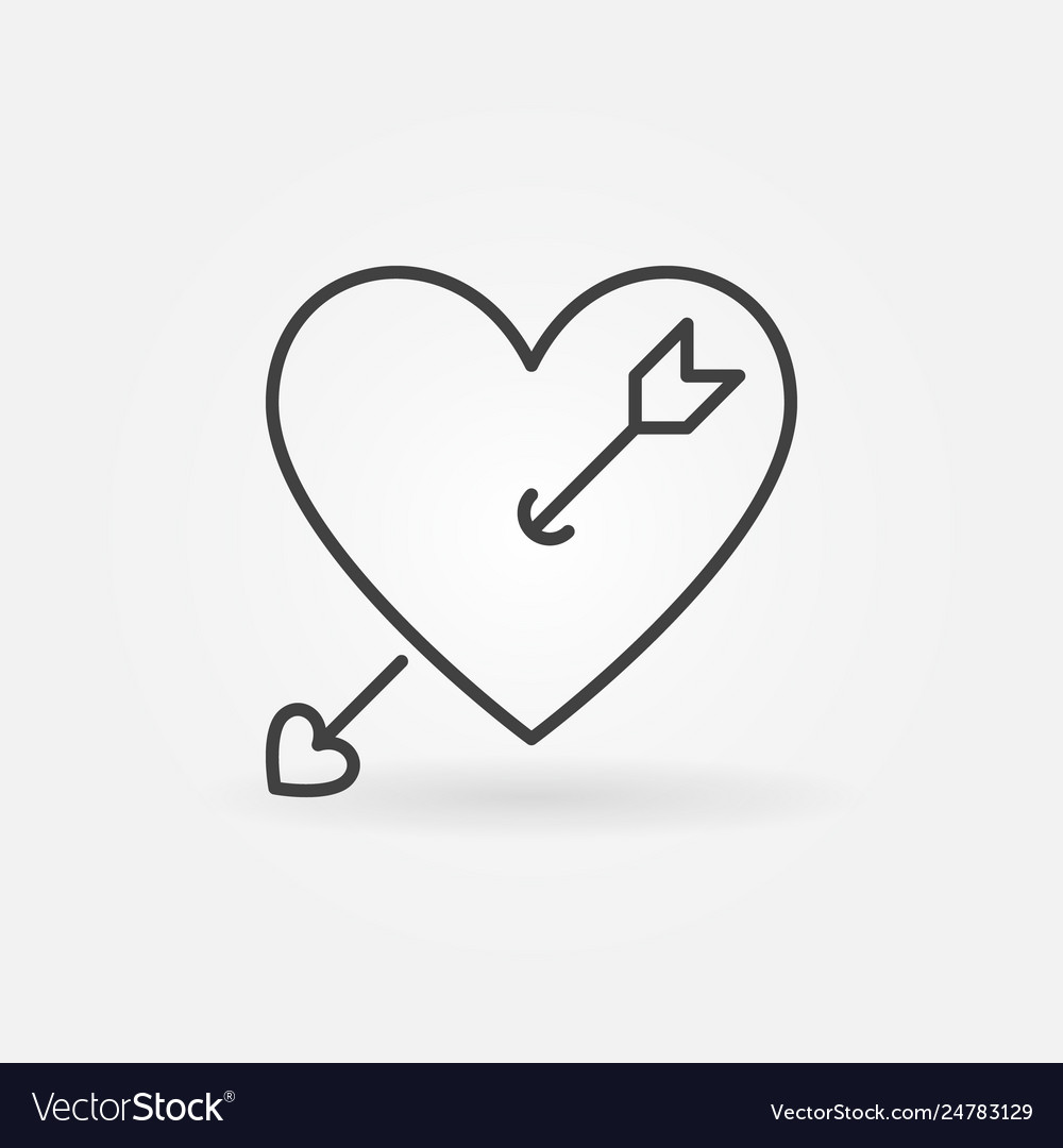 Heart with cupid arrow outline icon or logo