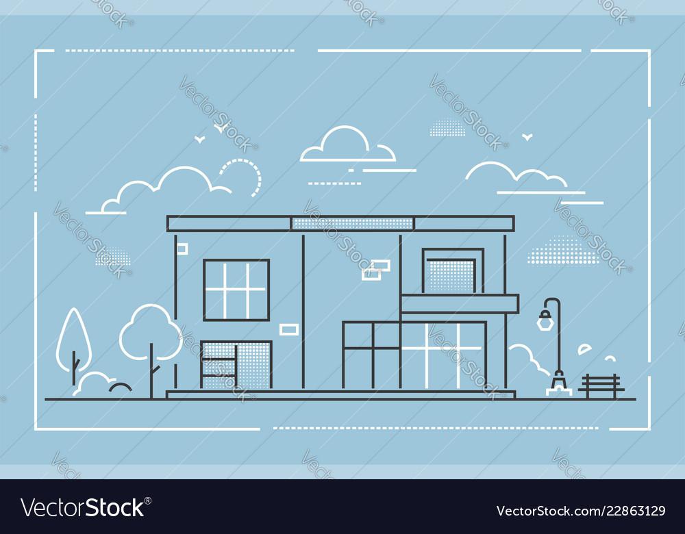 Nice cottage - modern thin line design style