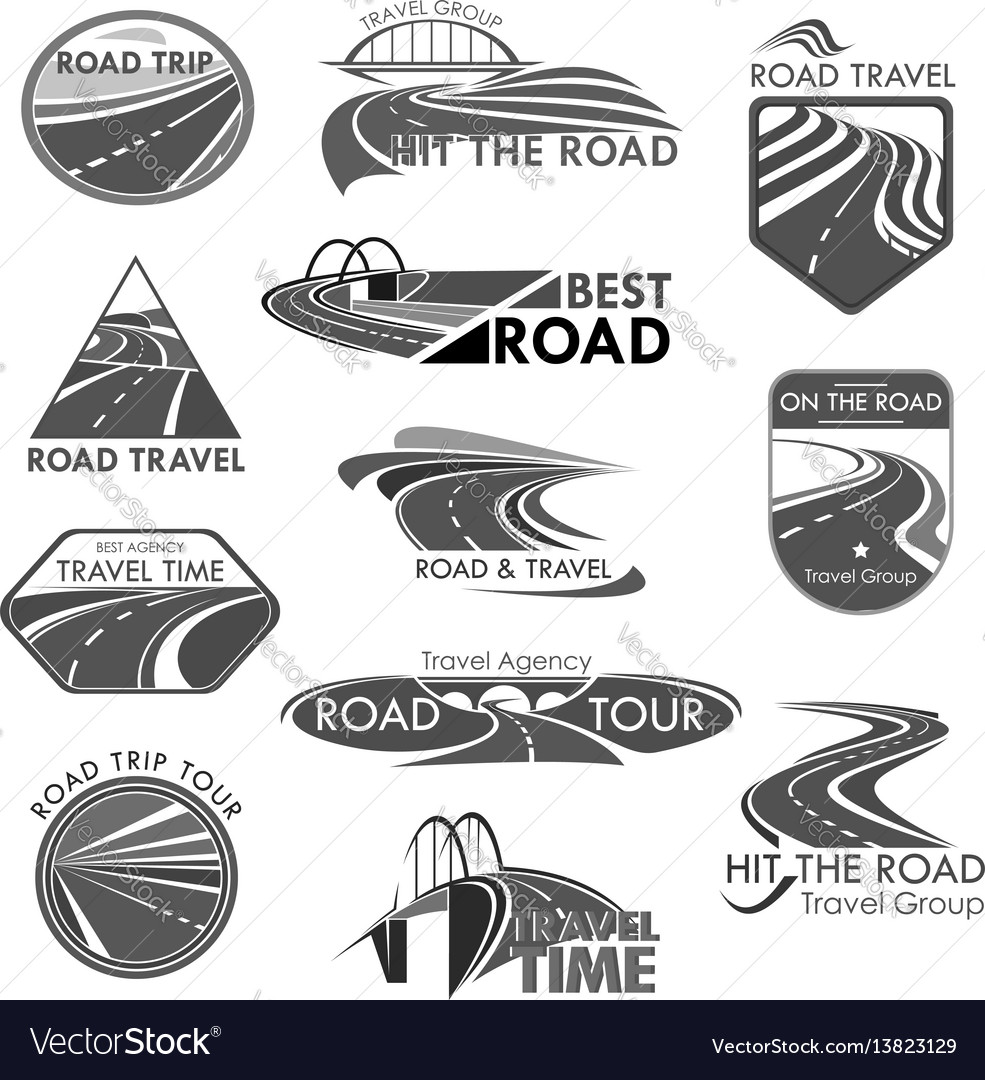 Road travel company agency template icons