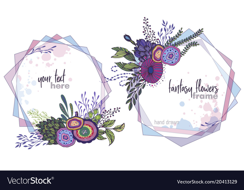Set of two colorful floral frames with Royalty Free Vector