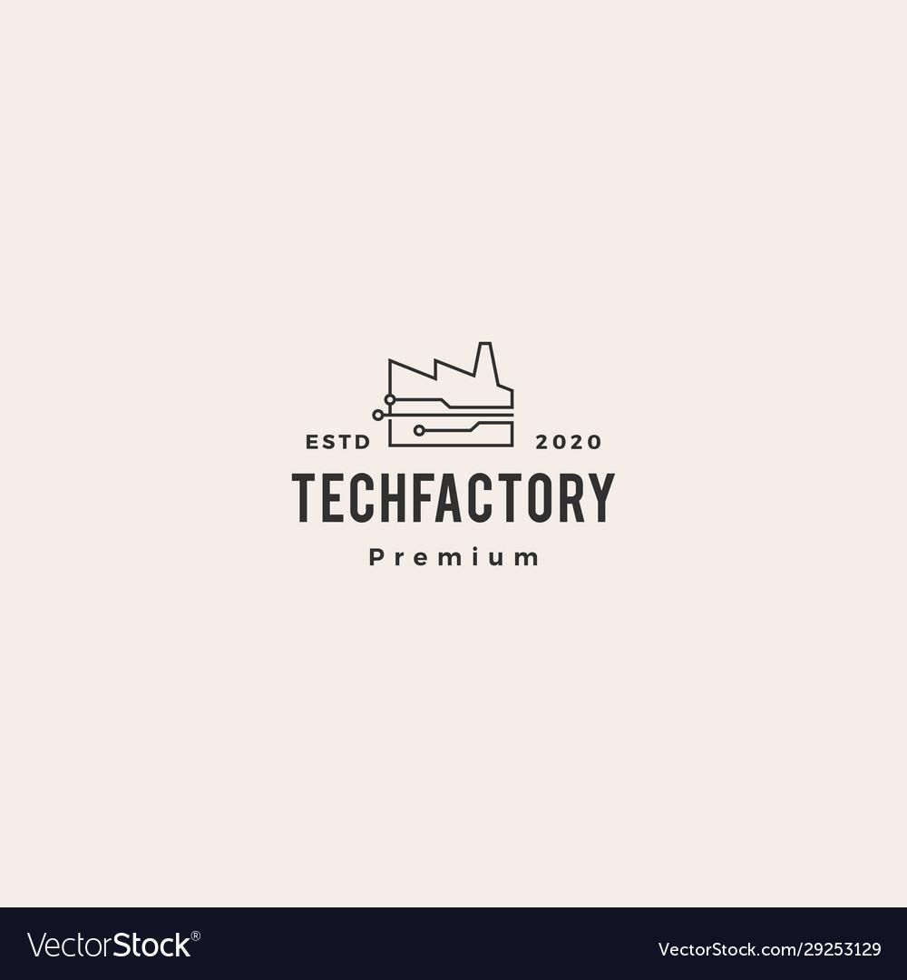 Smart factory tech logo icon hipster vintage retro