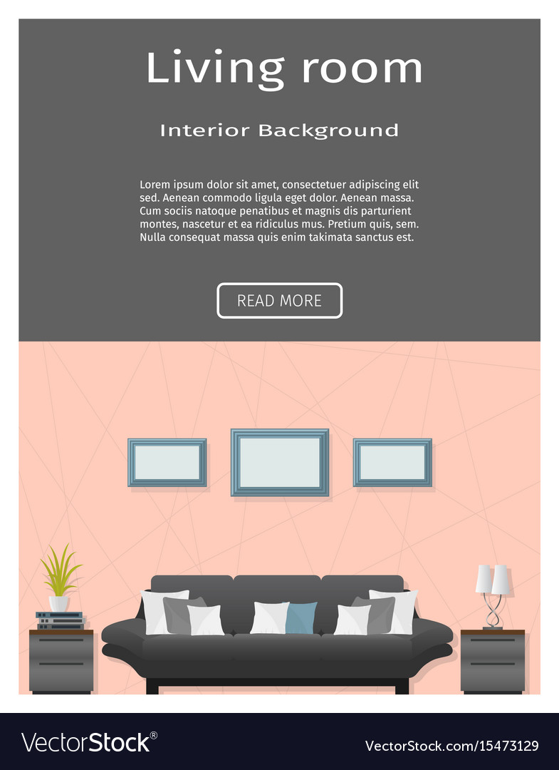 Website banner for modern living room interior vector image