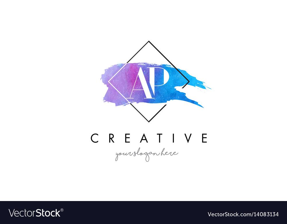 Ap artistic watercolor letter brush logo