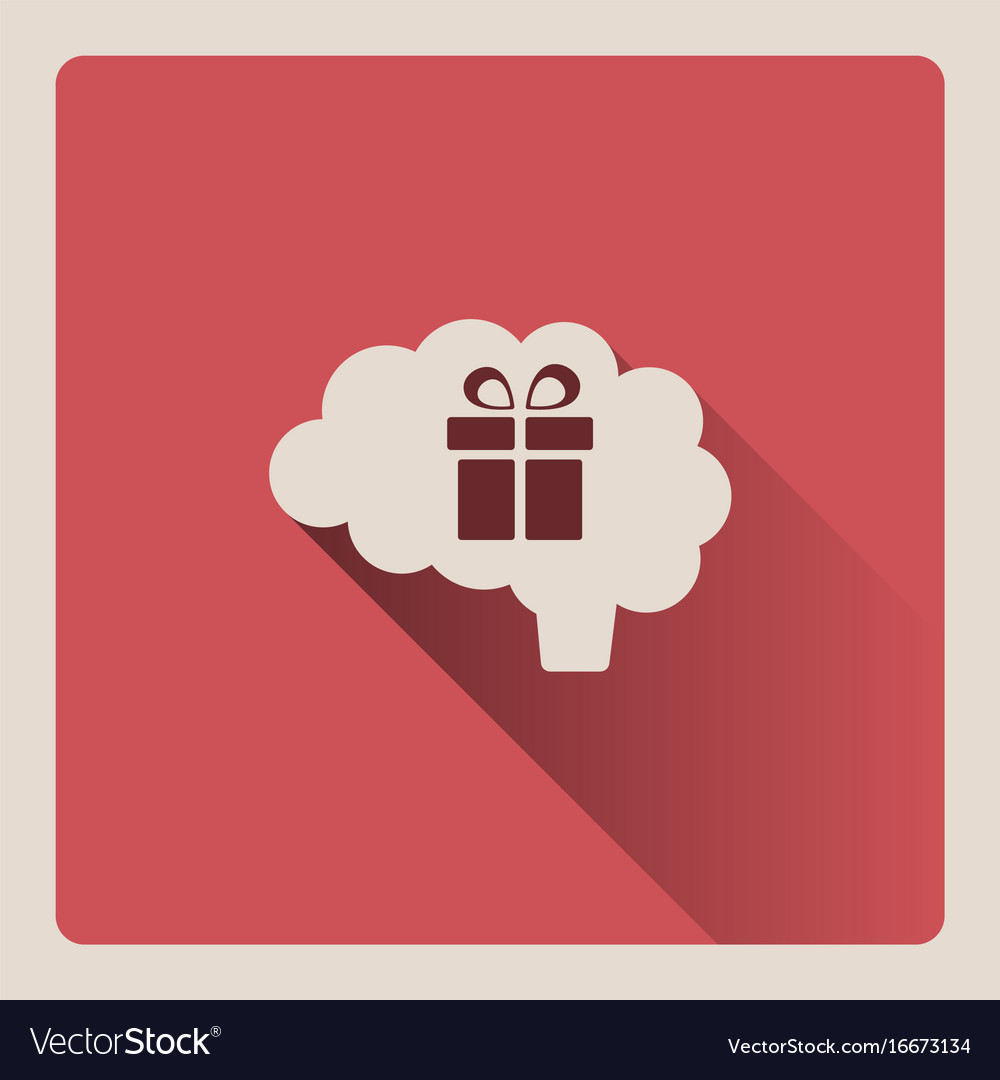 Brain thinking about a gift on red background