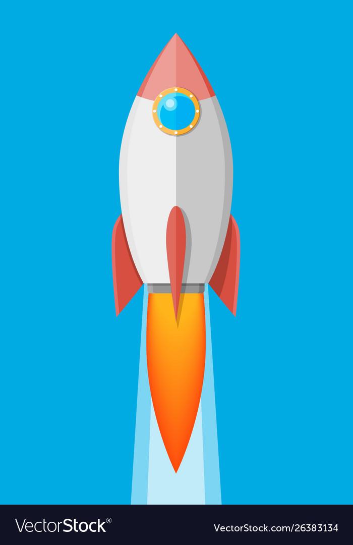 Cartoon rocket in sky space ship take off