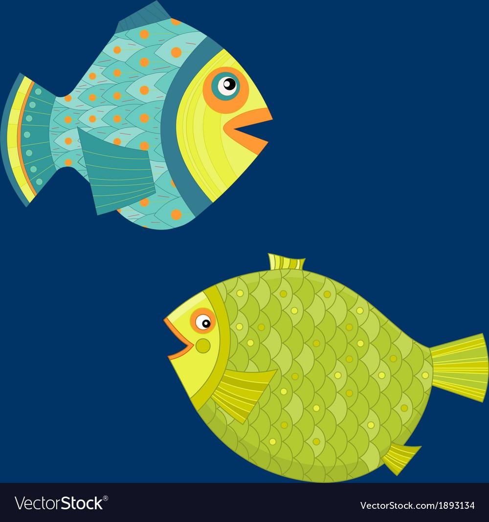 Cartoon sea fishes Coloring book vector image