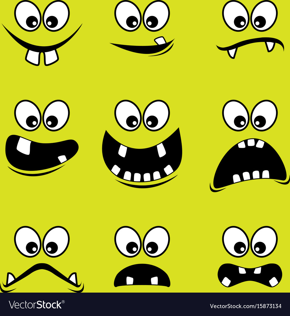 Faces of monsters on a green background vector image