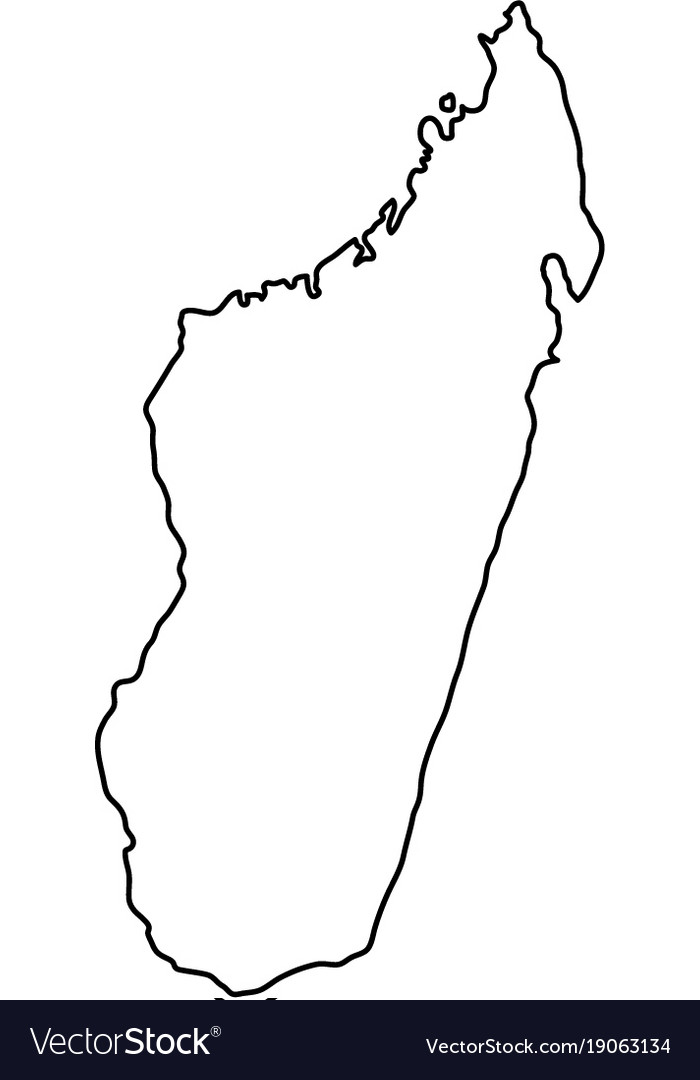 Madagascar map of black contour curves on white
