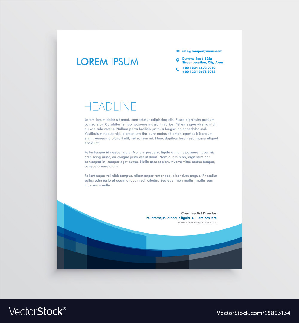Modern creative blue letterhead template design vector image spiritdancerdesigns Image collections