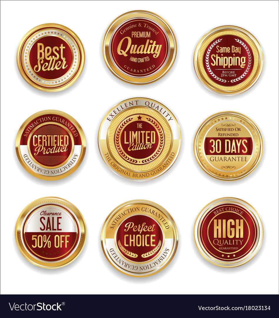 Sale retro vintage golden badges and labels 09