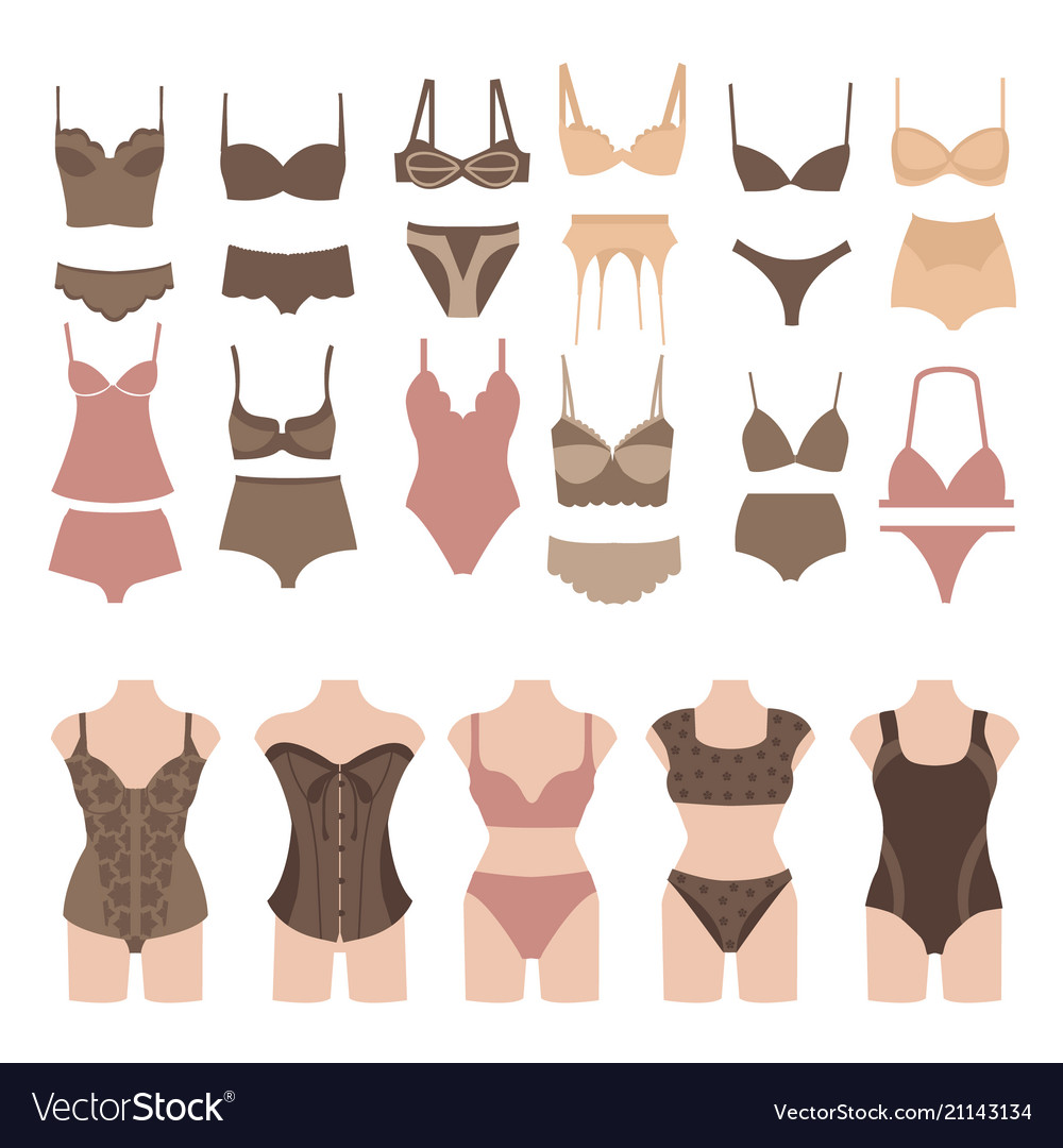 Set of beautiful fashion lingerie elements