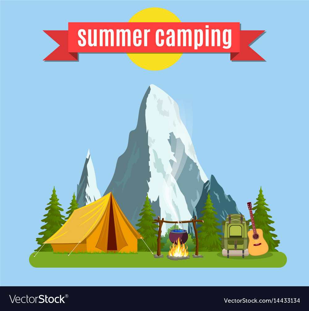 Summer camp landscape with yellow tent
