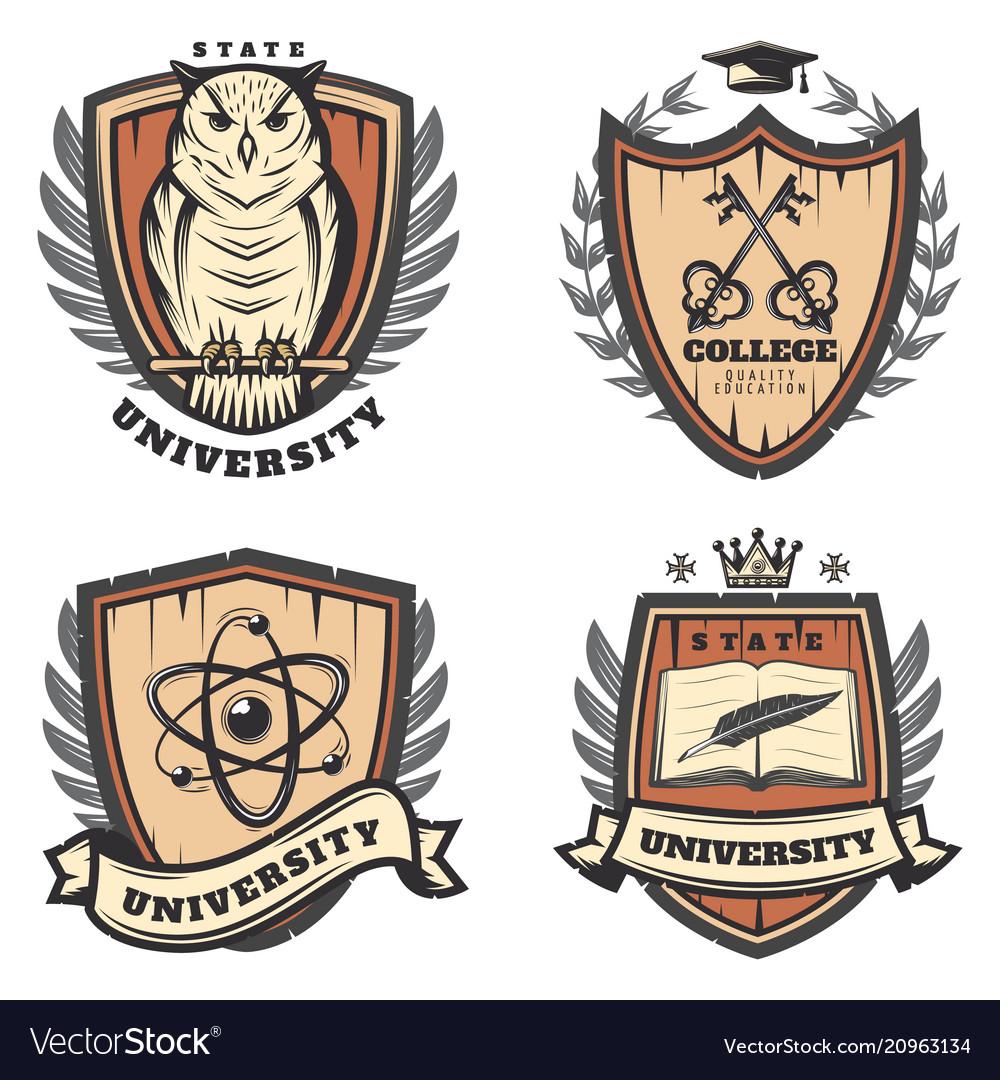 Vintage colored university emblems set