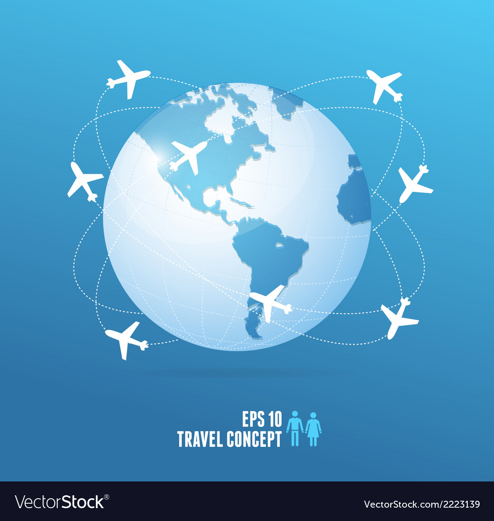 Airplanes flying around the globe Travel concept