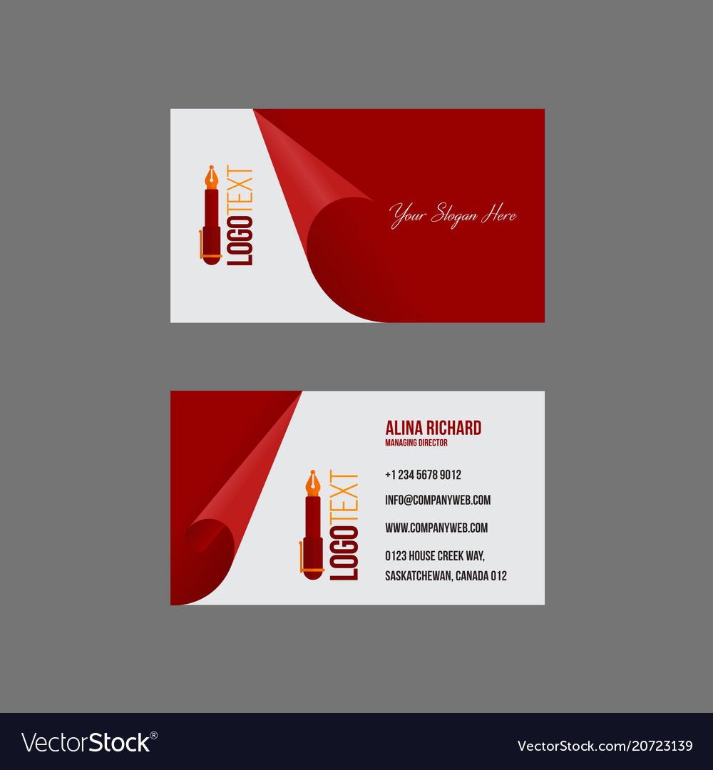 Artistic business card in velvet red tone Vector Image