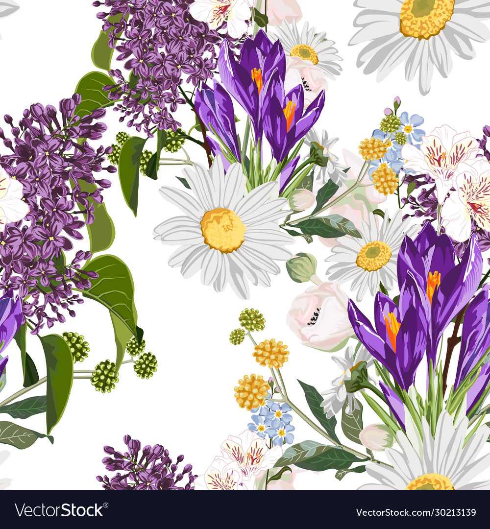 Bouquet many king spring flowers