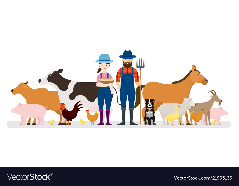 Couple farmers and dog with farm animals