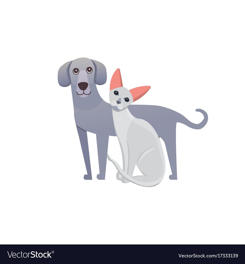 Cute home pets cartoon cat and dog best friends