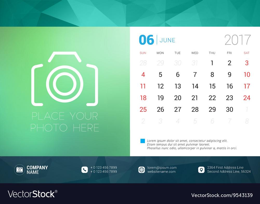 Desk Calendar Template for 2017 Year June Design