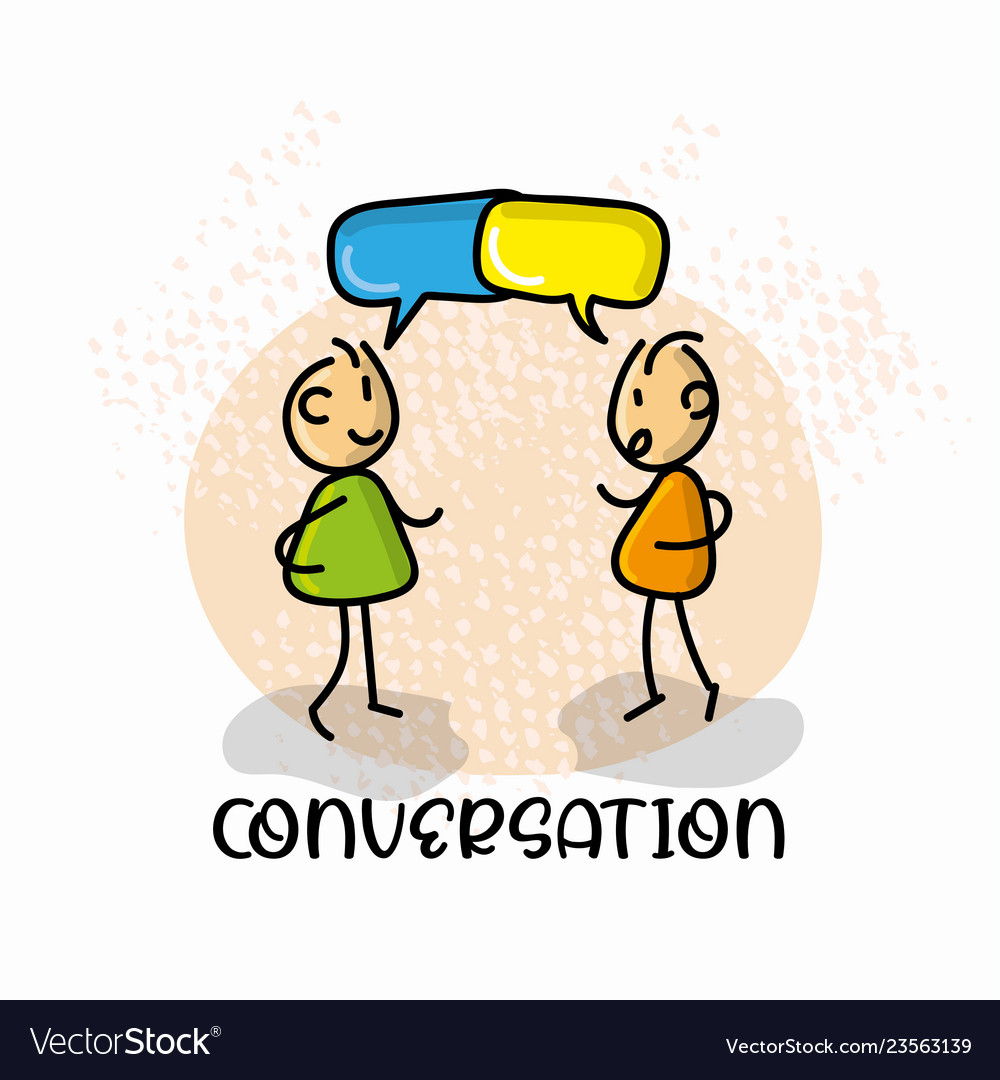 Doodle cartoon figure conversation