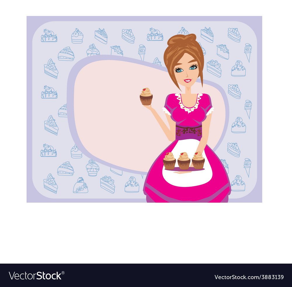Housewife serving chocolate cupcakes vector image