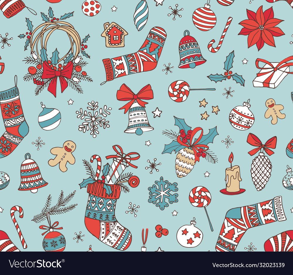 Merry christmas hand drawn doodle seamless pattern