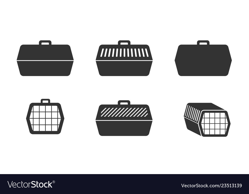Set pet cage icons in silhouette style