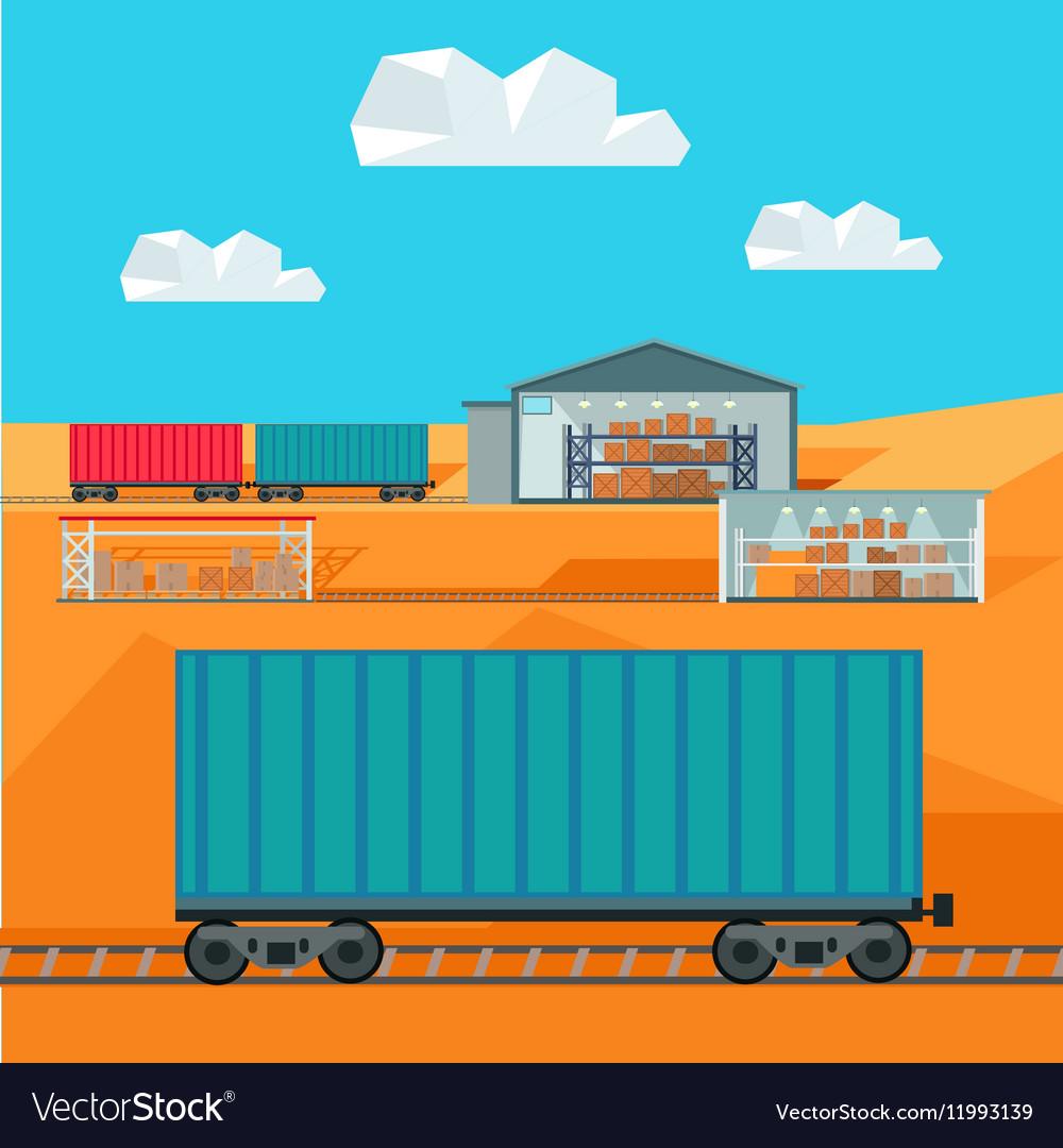 Train Worldwide Warehouse Delivering Logistics