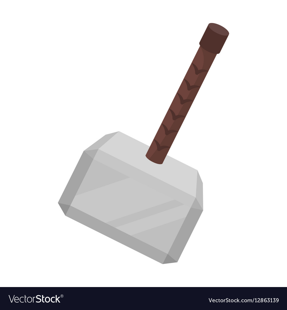 Viking battle hammer icon in cartoon style