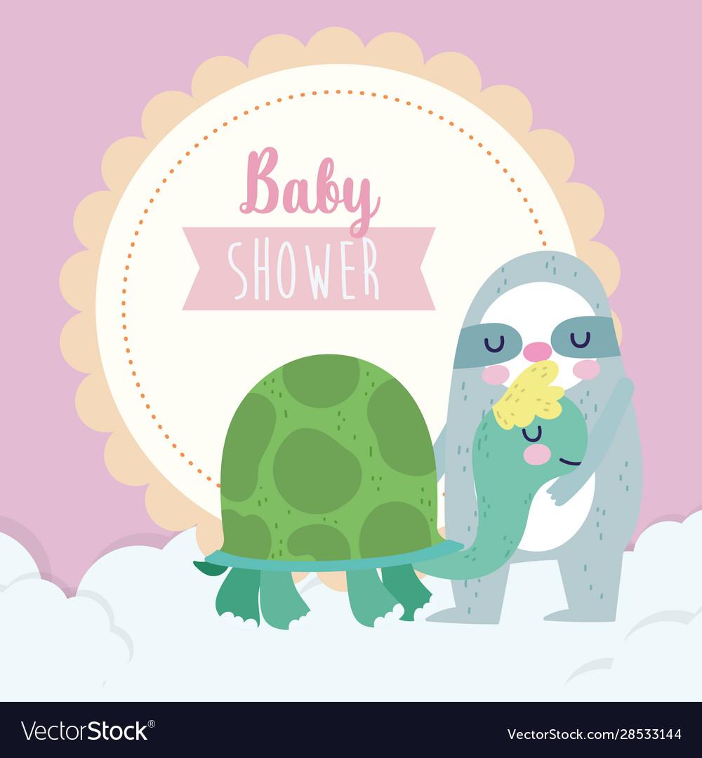 Bashower cute sloth and turtle cartoon
