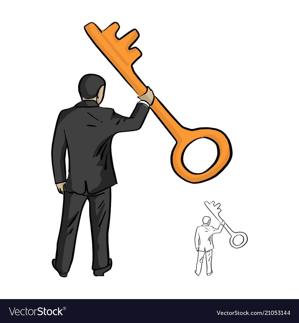 Businessman holding big golden key with one hand