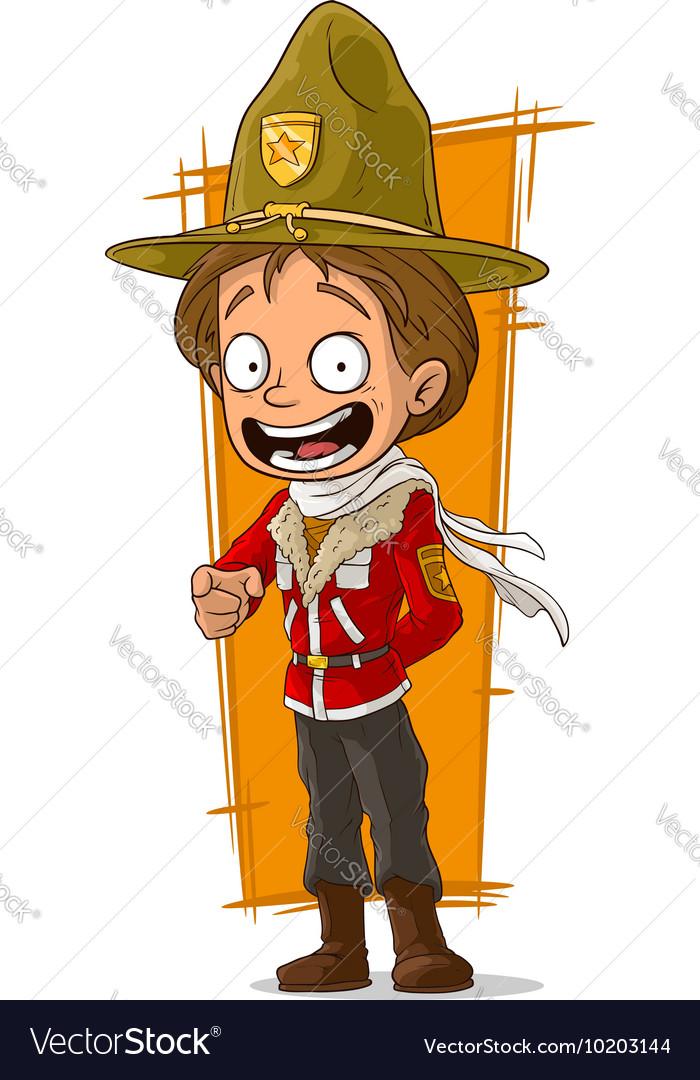 Cartoon standing canadian ranger in hat vector image