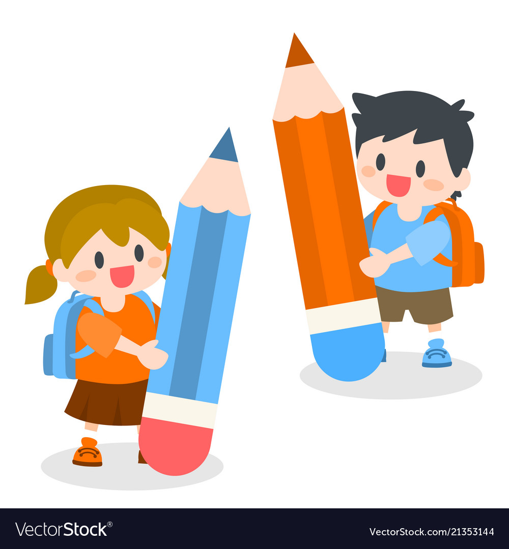 Children with school bag holding pencil
