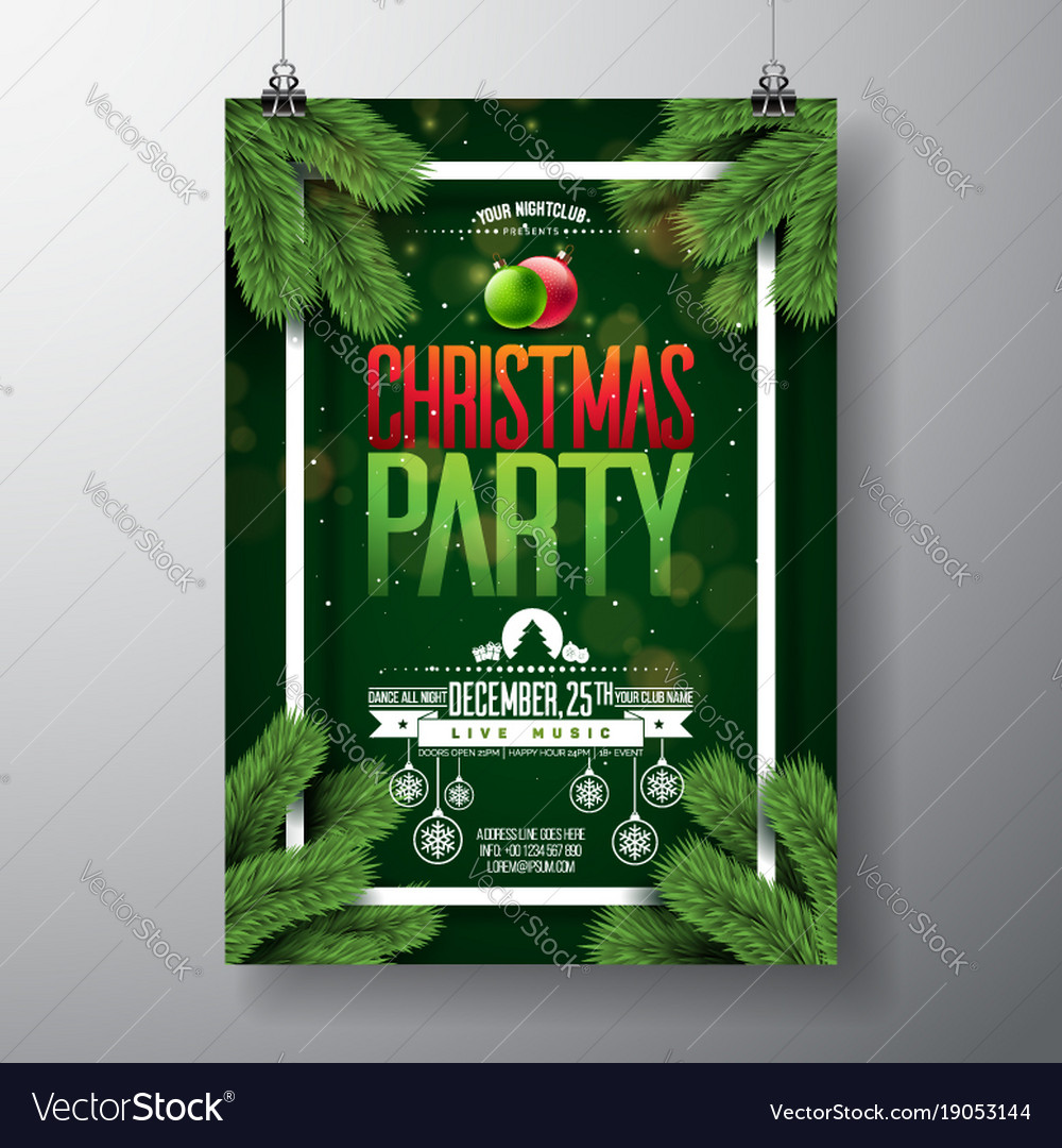 Christmas party flyer design with holiday