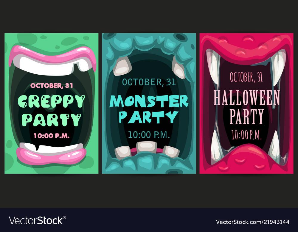creepy halloween party invitation flyers monster vector image