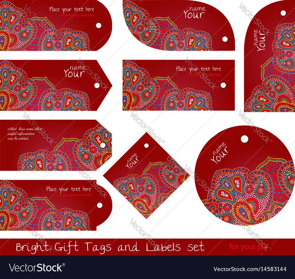 Floral paisley red tag set for gifts and goods vector image