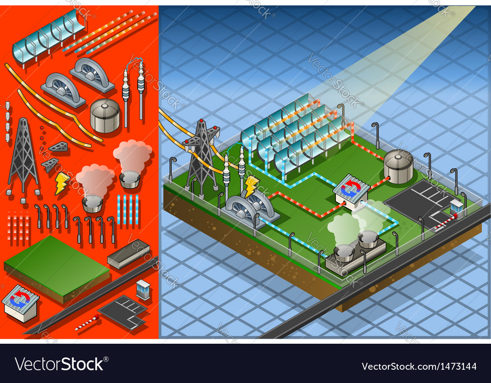 Isometric termo solar plant in production of vector image